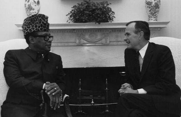Мобуту и и президент США Джордж Буш, 1989 г.