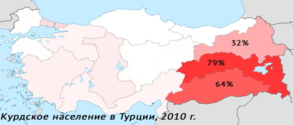 Карта, показывающая долю курдского населения по статистическим регионам Турции