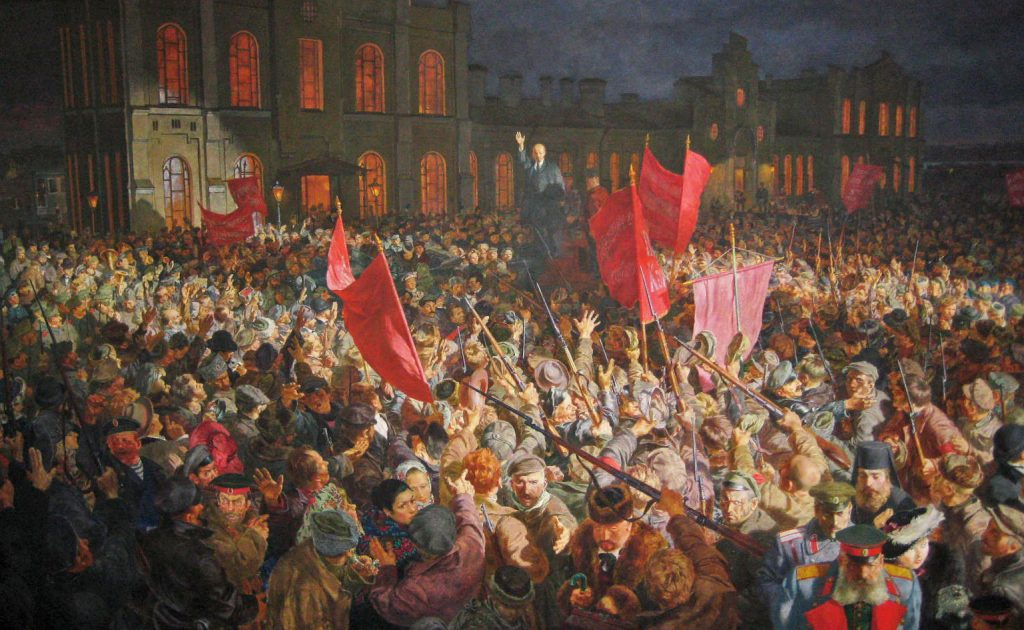 Ленин обращается к толпе по возвращении в Россию